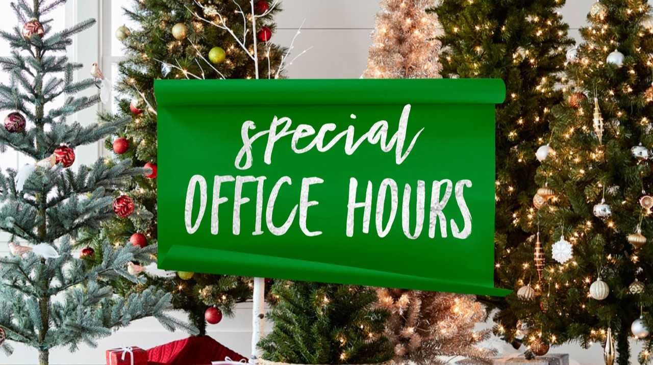 Christmas Office Hours at FBC