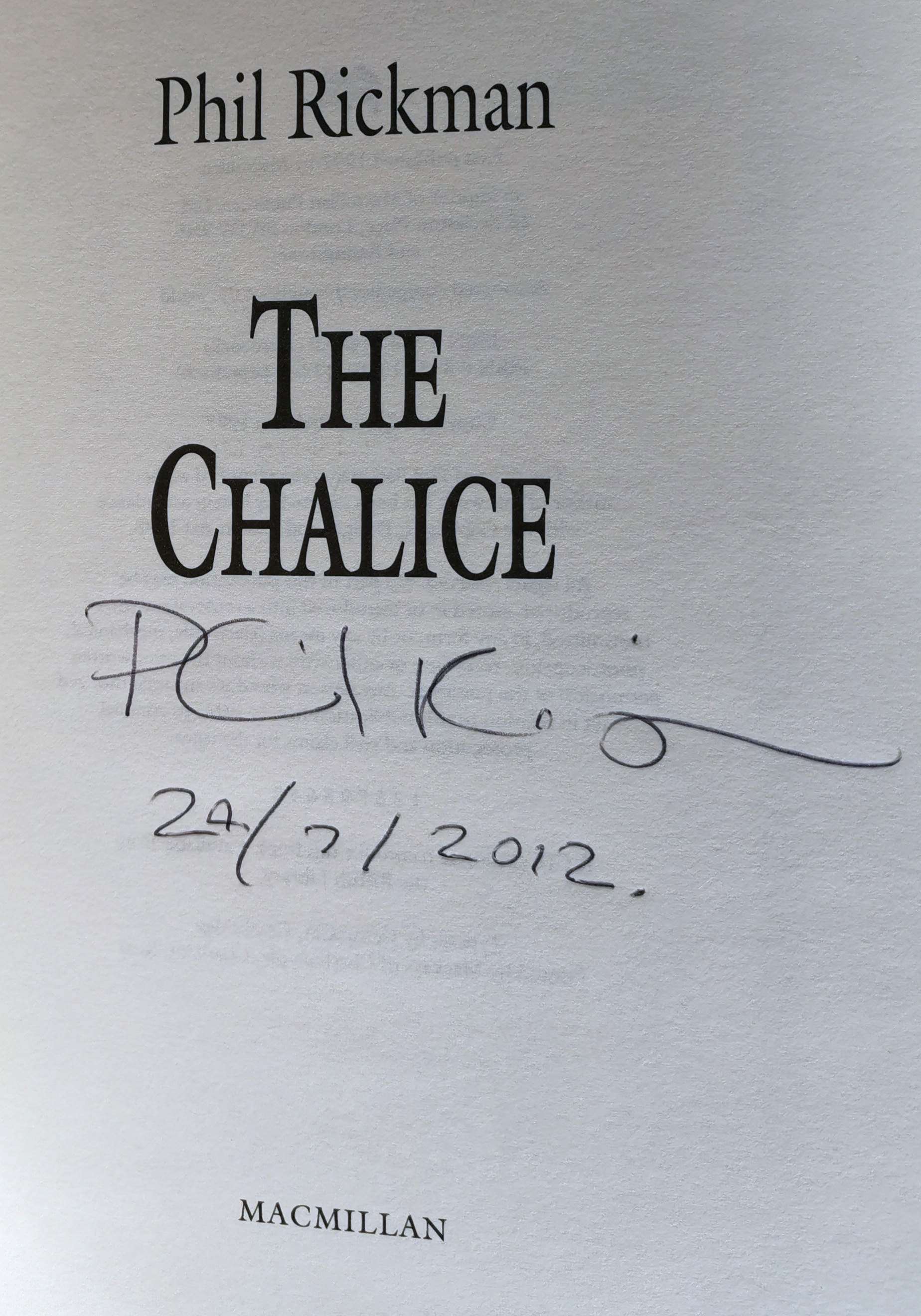 The Chalice Signed UK 1st Edition