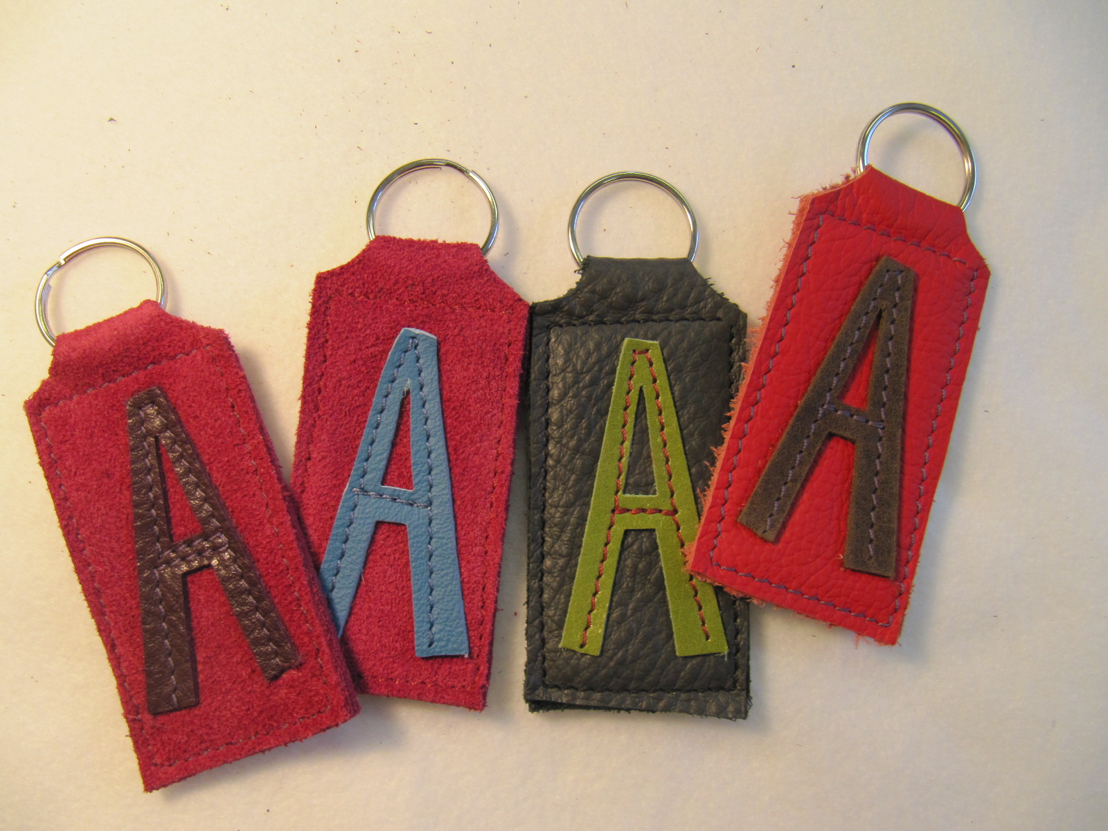 Initial Leather key fobs 'A'