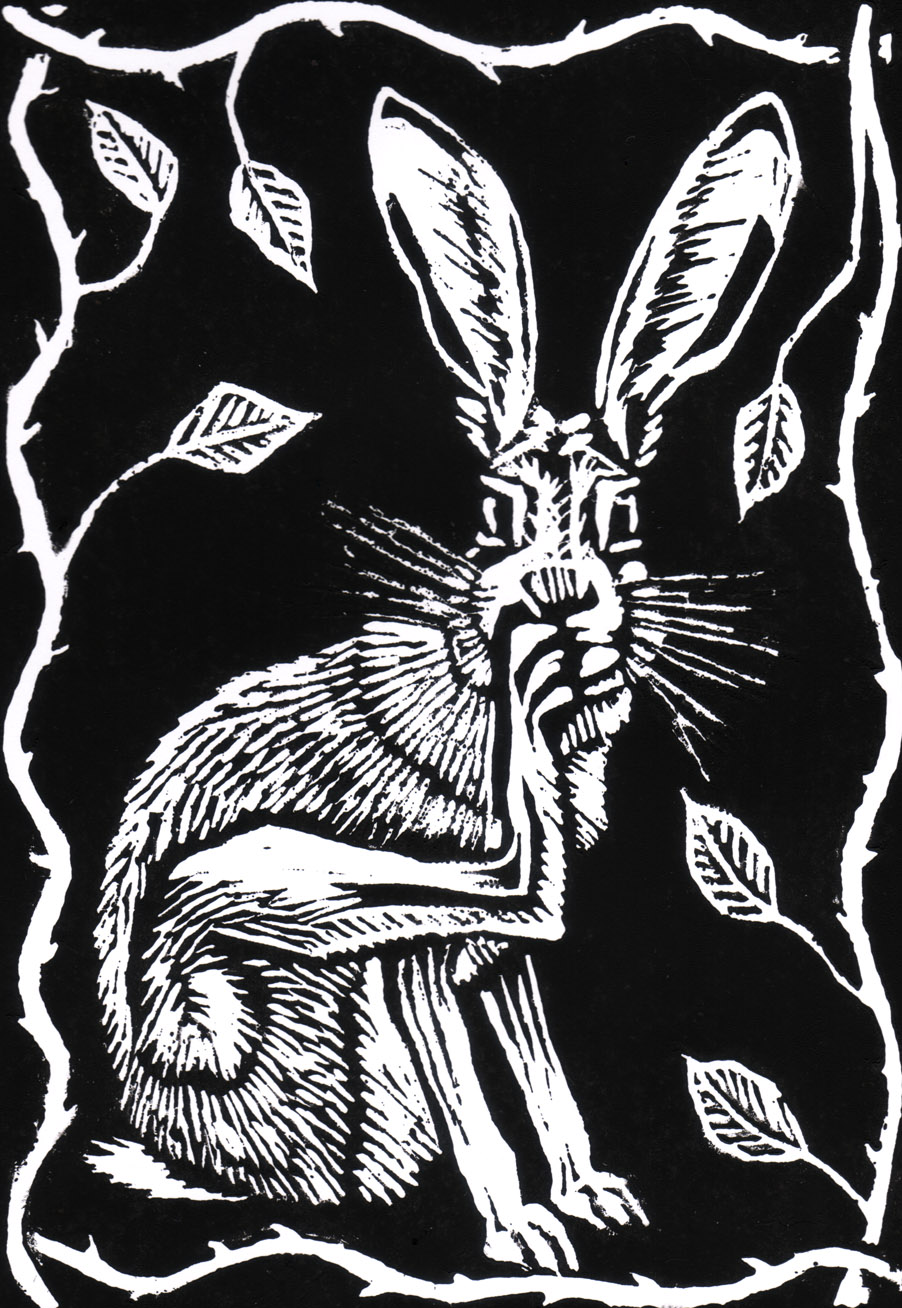 'Scratching Hare' lino print