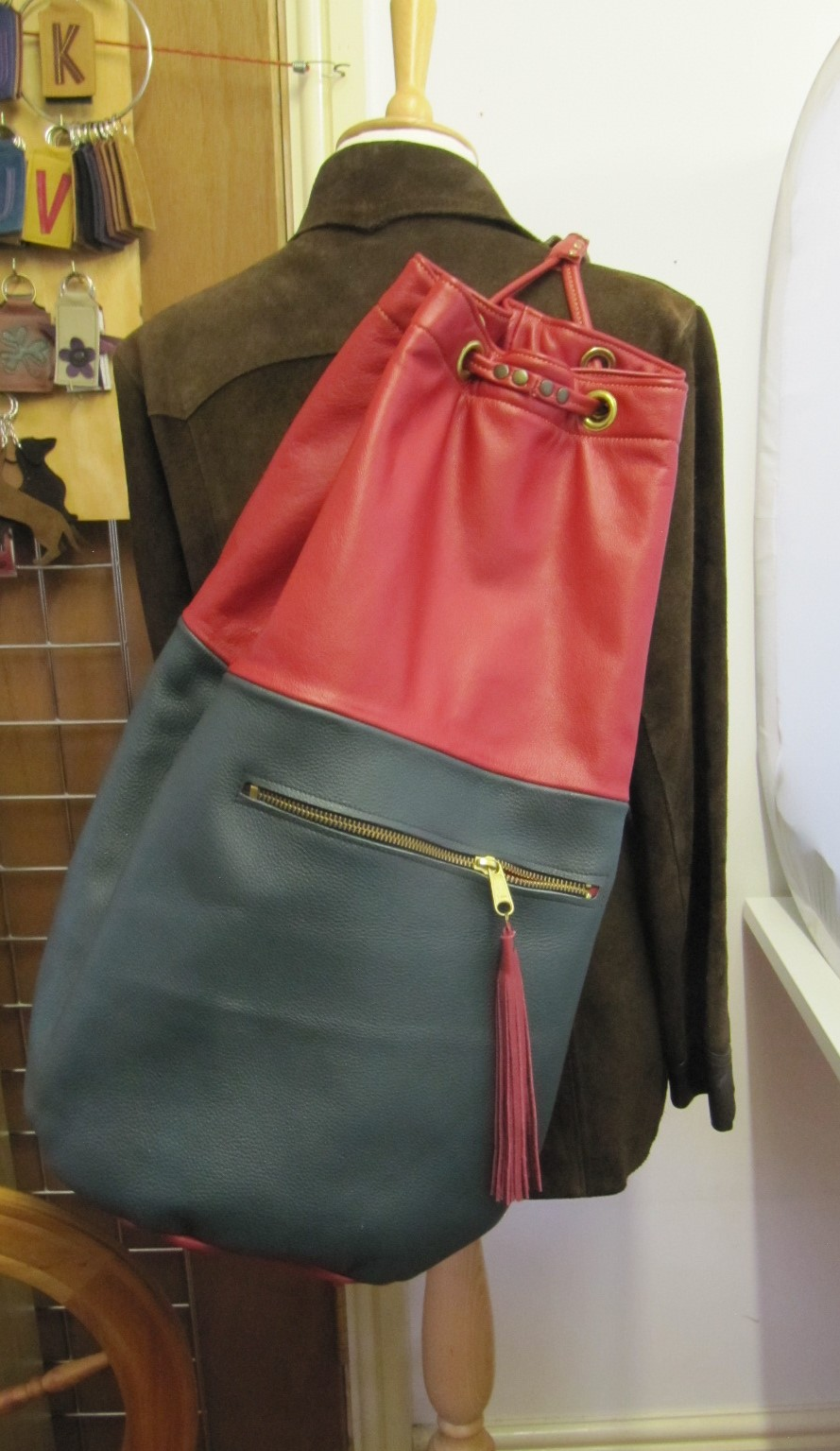 Taller leather duffle bag