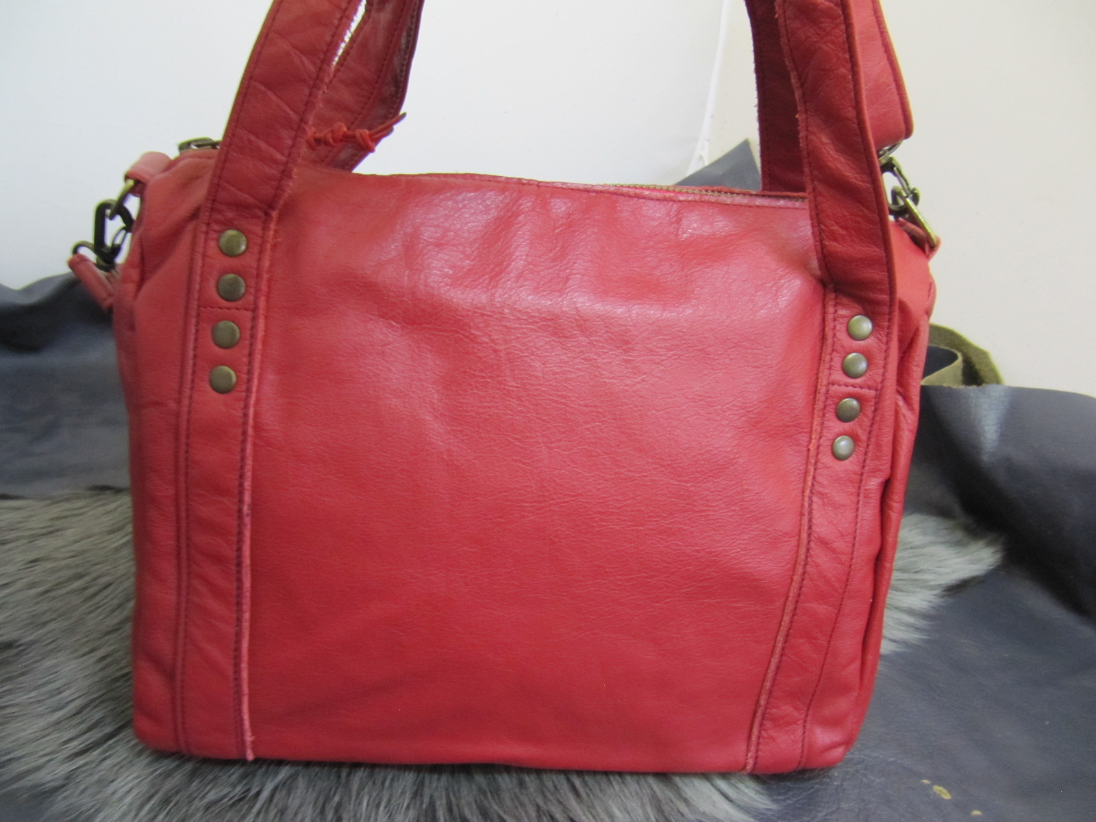Red leather Bowling style handbag