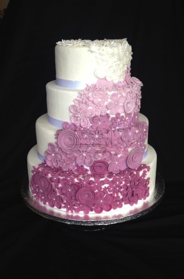 Ombre Purple Flowers 4 Tier