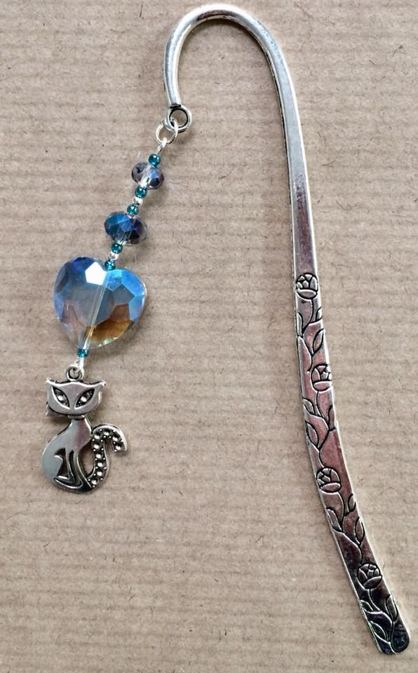 Cat Bookmark with blue crystal