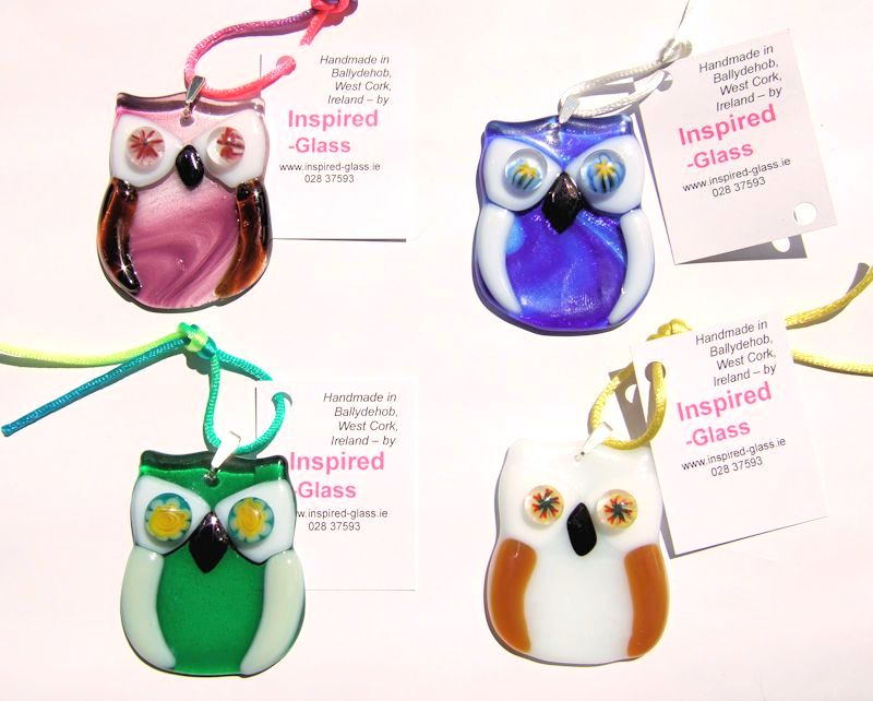 Fused-glass 'baby owl' suncatchers