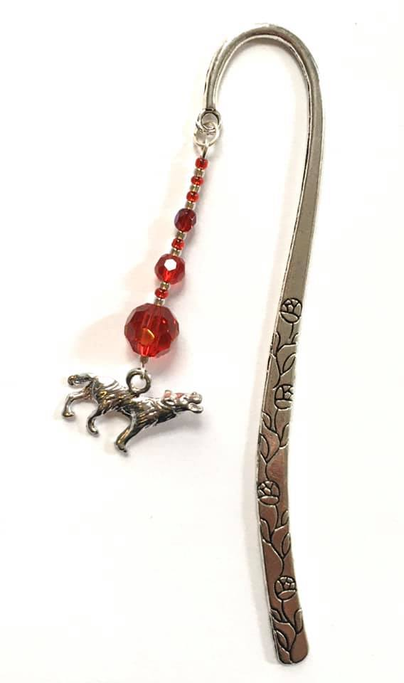 wolf large red bookmark