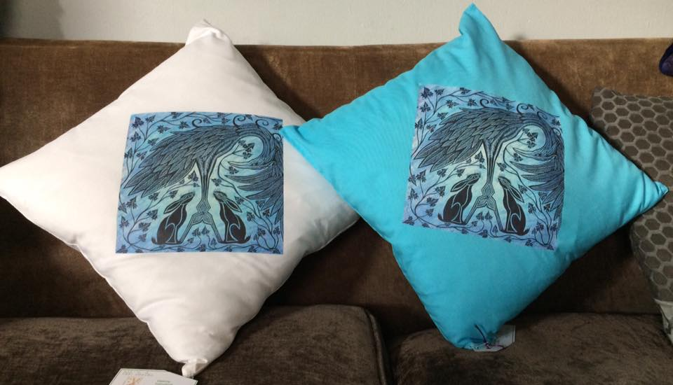 'Hare Dream' cushion cover blue