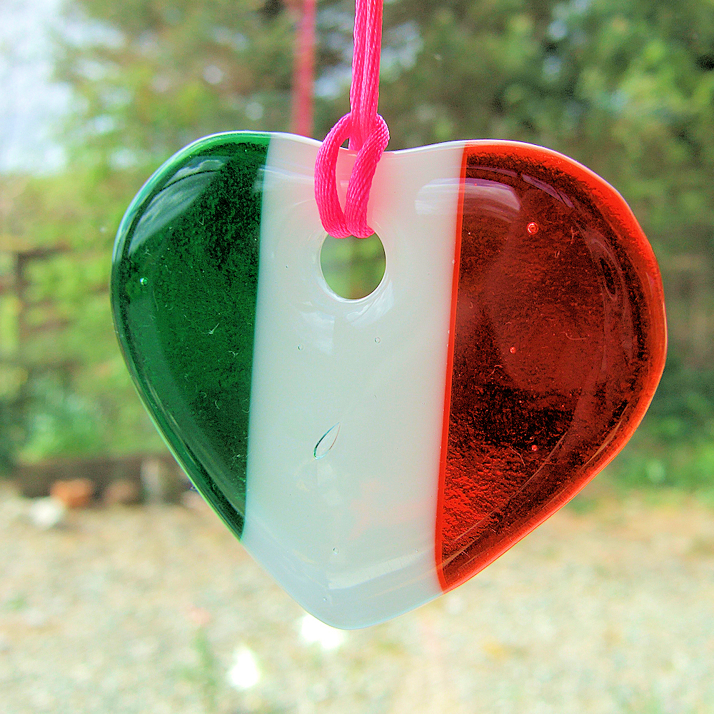 Fused-glass Tricolour heart suncatcher