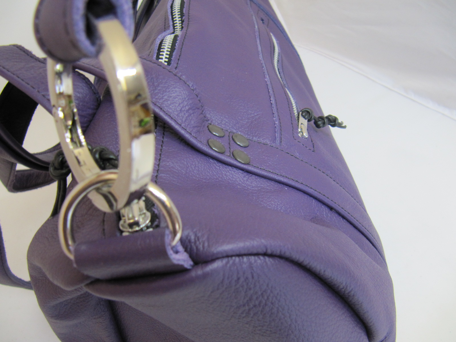 Purple leather overnight bag