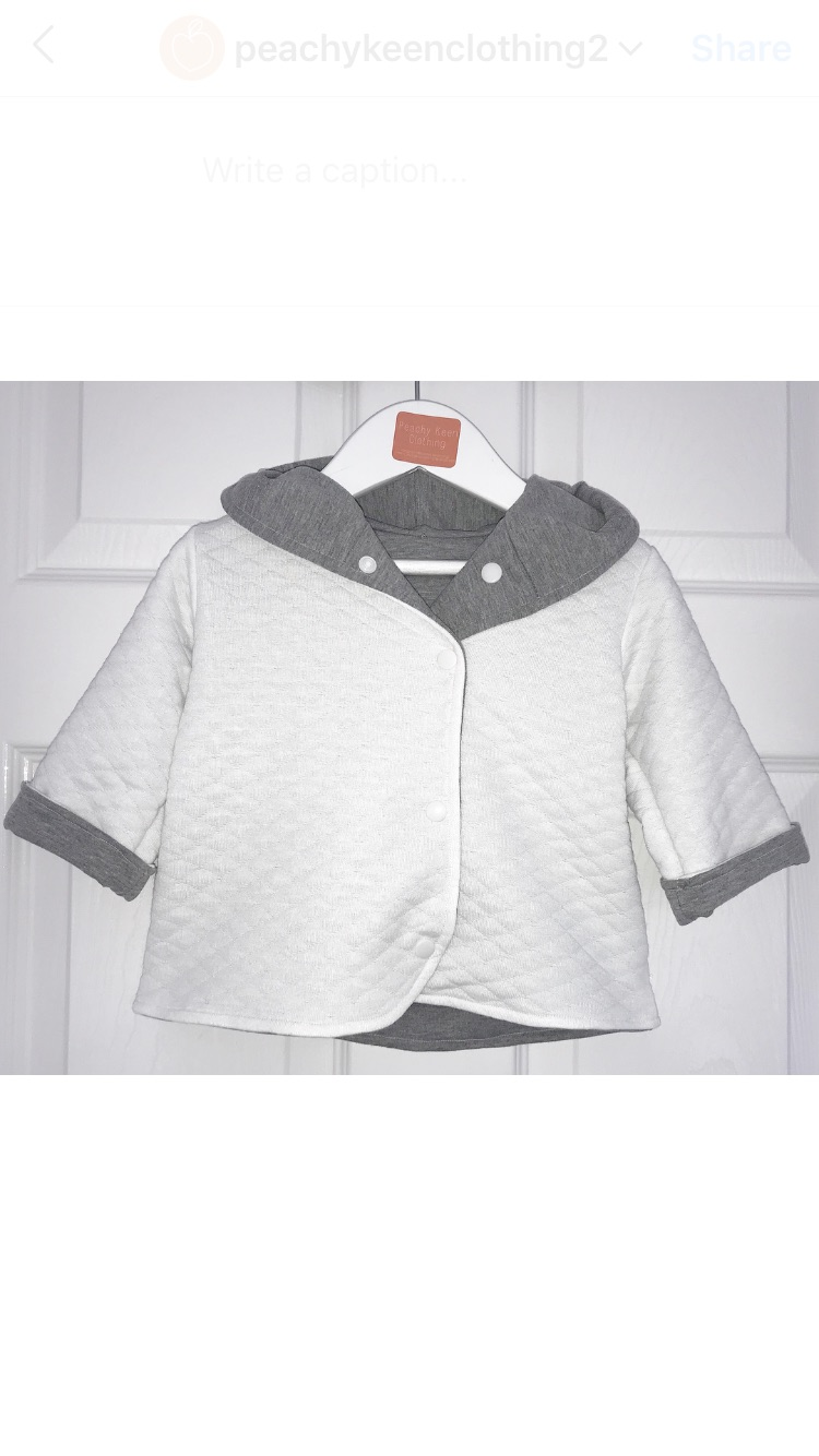 Quilted Hooded Jacket - White/Grey