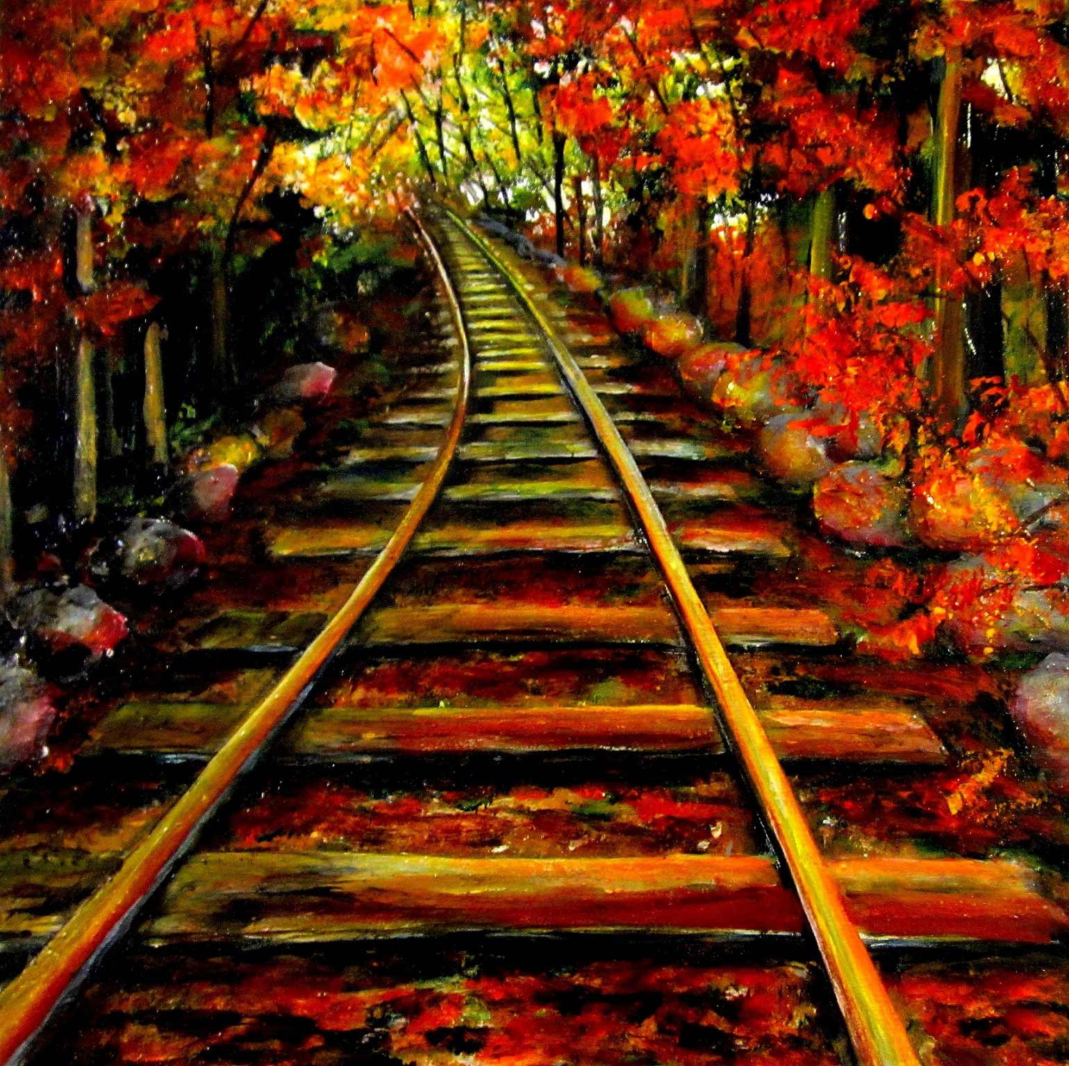 """Train Tracks in Fall"", Ontario, 12x12"