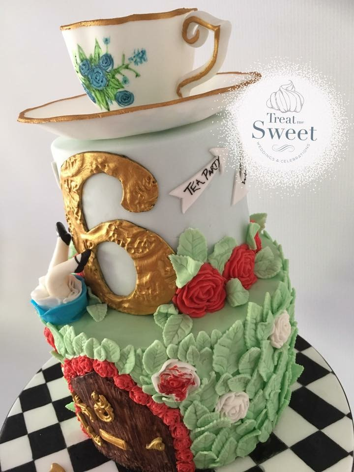 Alice inspired Tiered Cake with edible tea cup - Treat me Sweet