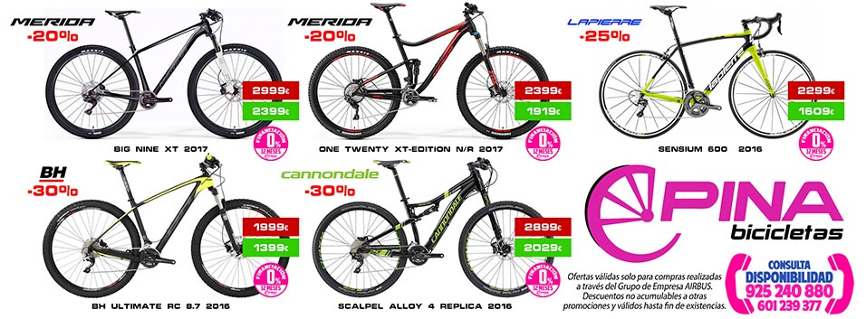 Bicicletas Pina Illescas Toledo, condiciones especiales para empleados Airbus Group