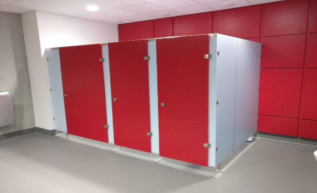 WIT Sports Campus Project Red and White Toilets