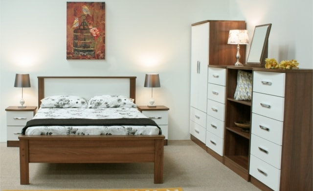 Cappuccino Bedroom Range, Dark Walnut with High Gloss White