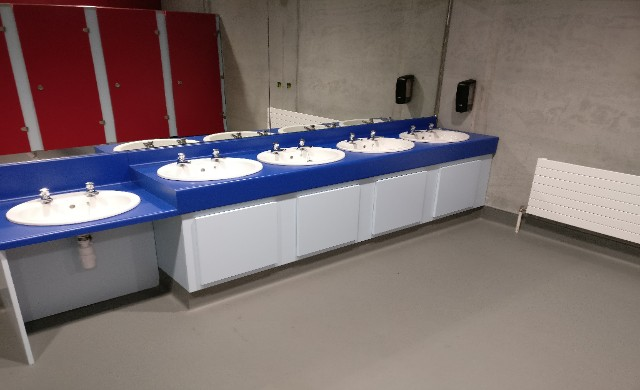 WIT Sports Campus Project Blue & White Washbasins