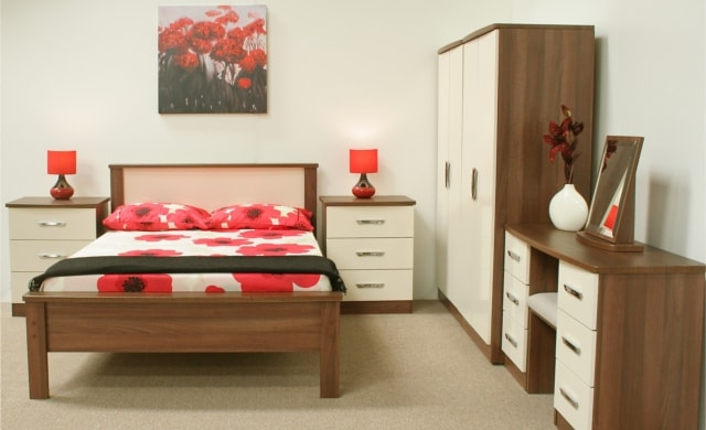 Mocha Bedroom Range, Dark Walnut with High Gloss Cream