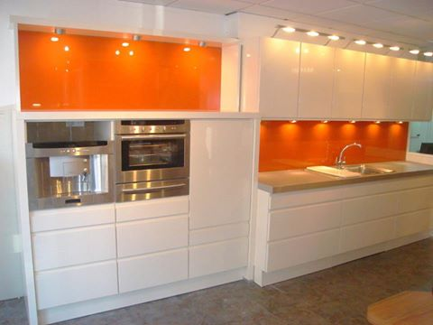 White & Orange Kitchen, Cedarwood Kitchens, Bedrooms & Home Interiors