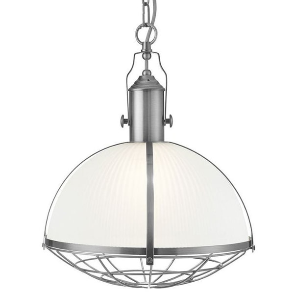 Satin Pendant Light with Ribbed Glass, Cedarwood Kitchens, Bedrooms & Home Interiors