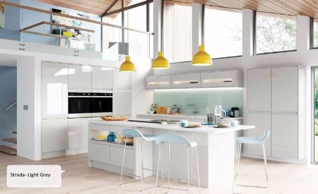 Strada Gloss - Light Grey Kitchen