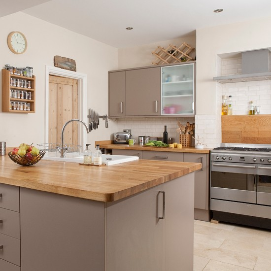 Painted fitted kitchen with island