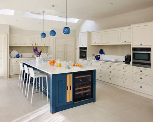 White & Blue Kitchen, Cedarwood Kitchens, Bedrooms & Home Interiors