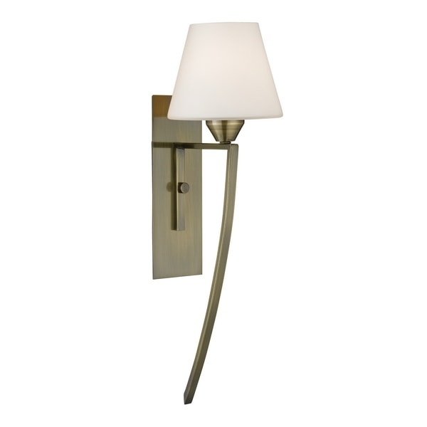 wall antique brass finish one light switched wall bracket with attractive modern opal cone shaped glass diffuser size h51cm 15cm p20cm wattage 40w