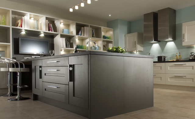 Cedarwood painted kitchens for Bi colored kitchen cabinets