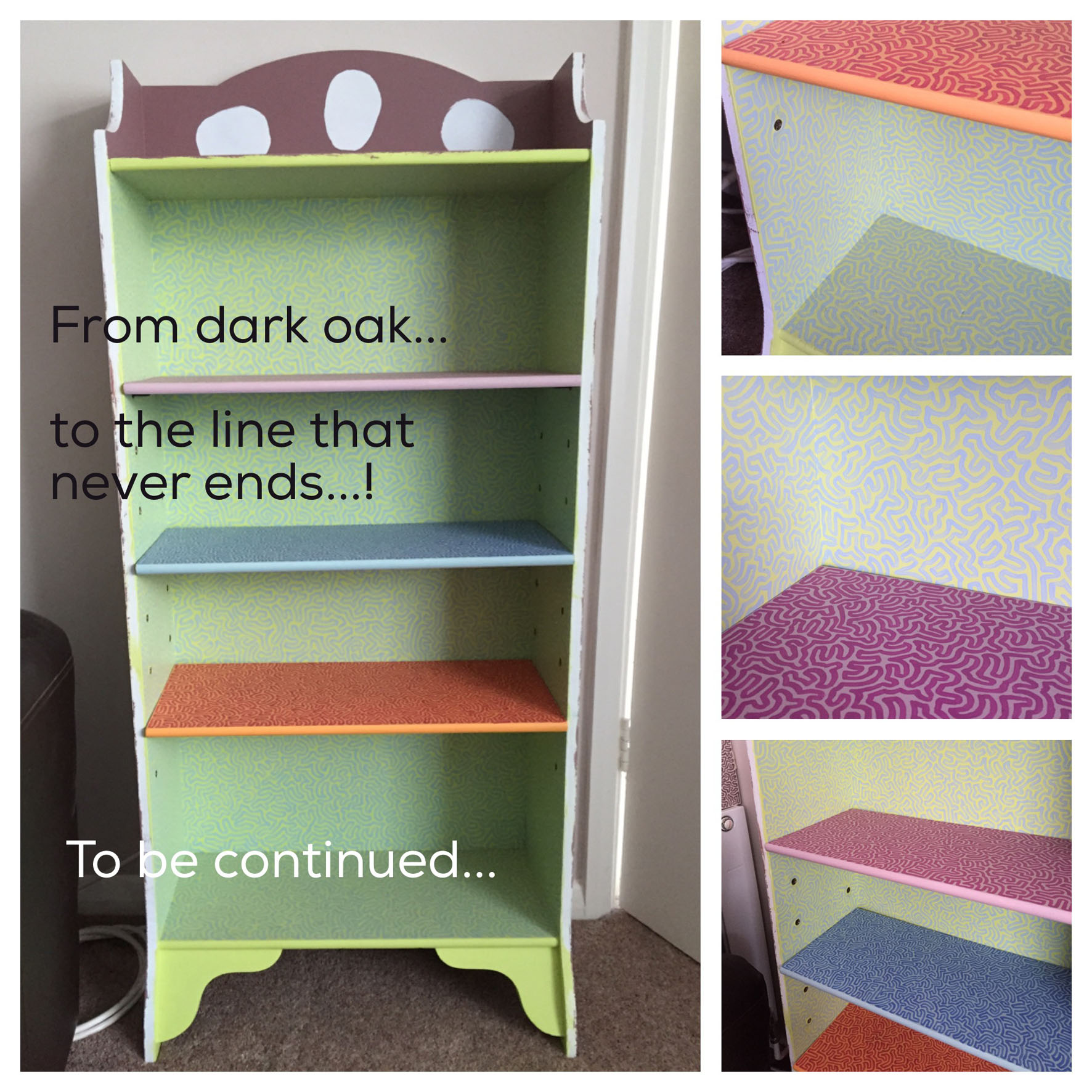 bespoke hand painted shelves by Helen Adams Bognor Regis