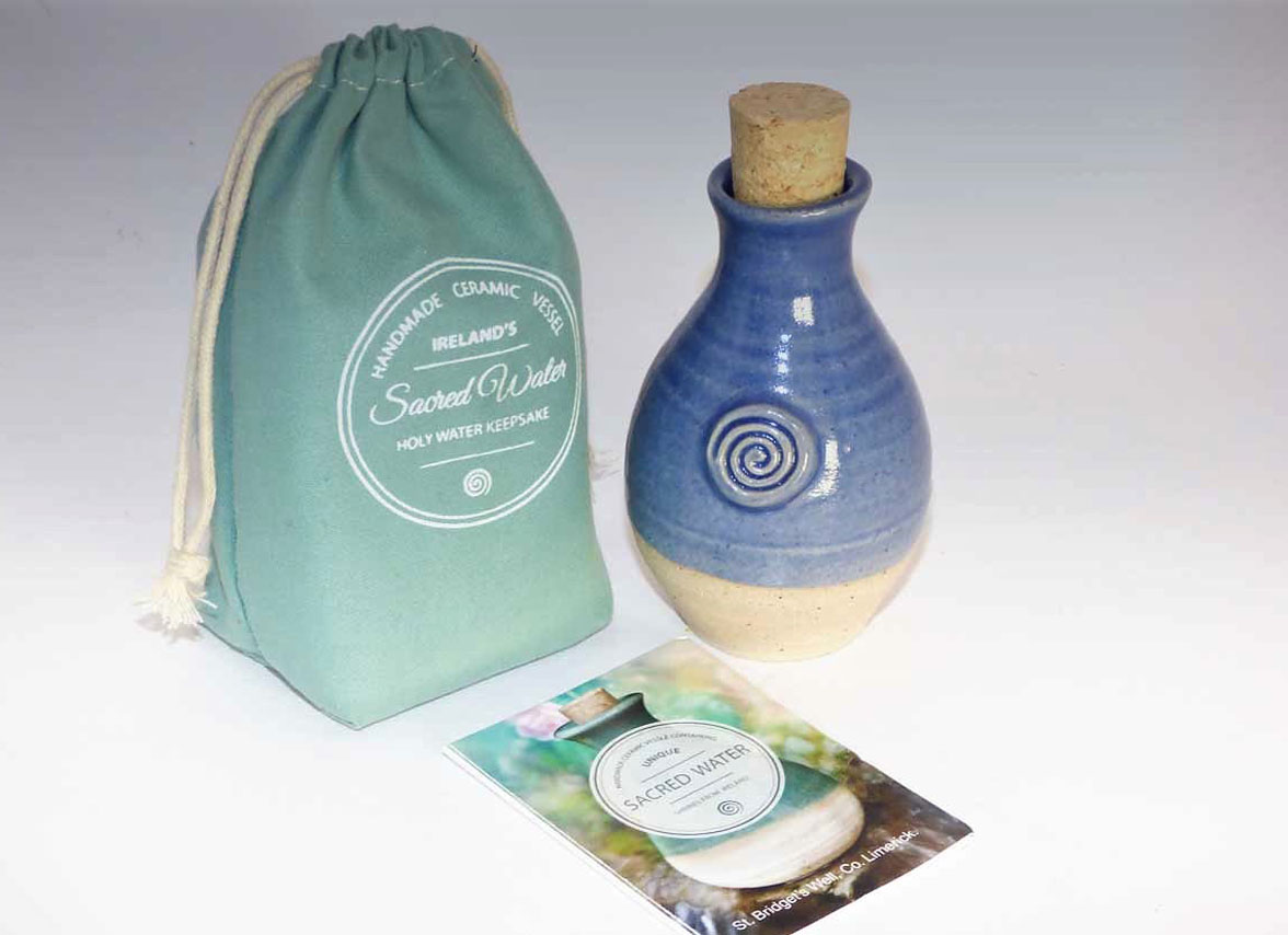 Ceramic Holy Well Water Keepsake Gift-Light Blue