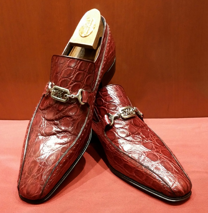 Slip-on Model 6P043 Burgandy Crocodile