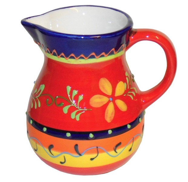 Classic Spanish Orange Flower Jug Small