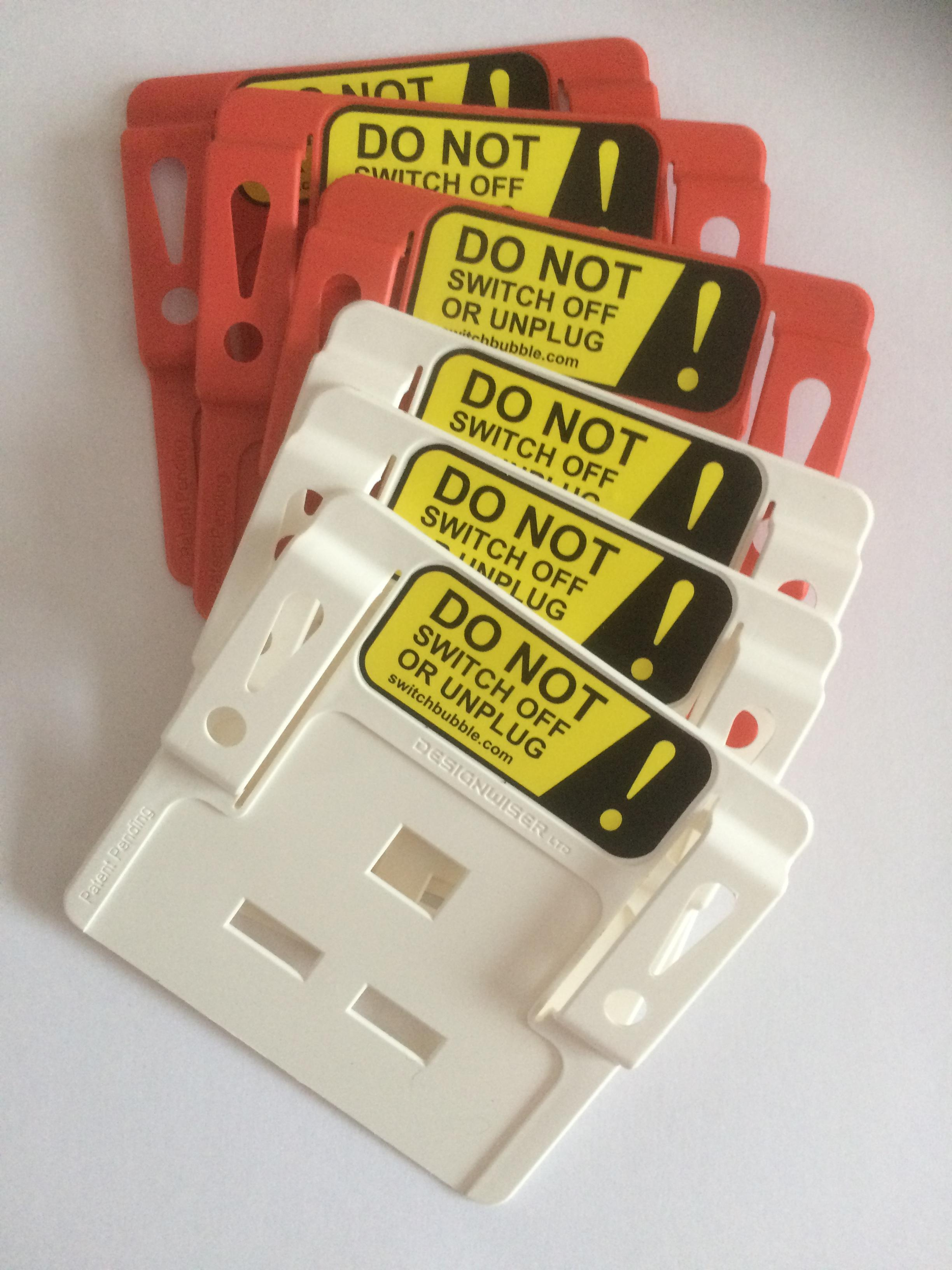 Multi pack (quantity 6) SwitchBubble Power Protectors in red and white. Price (inc VAT & delivery):
