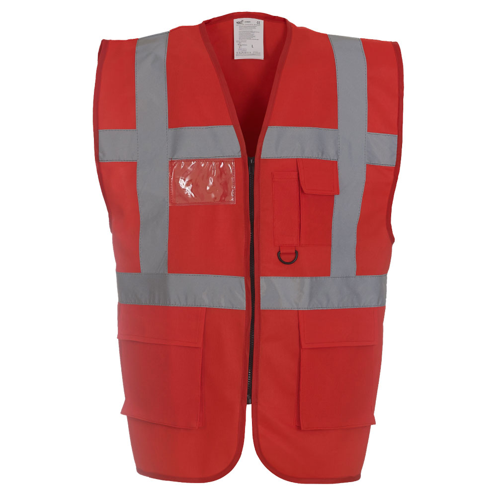 HVW801 Hi-Vis Red Waistcoats with Pockets and Zip Closing