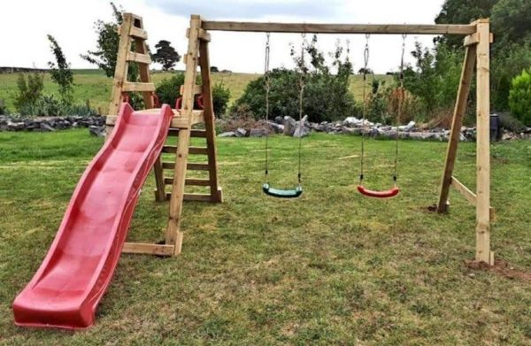 Double Swing Set with Slide 217