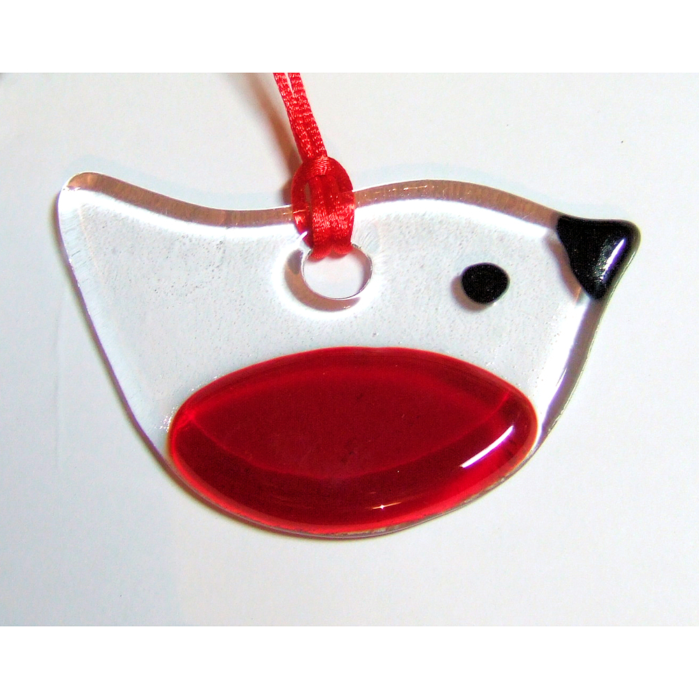 Fused-glass Robin suncatcher