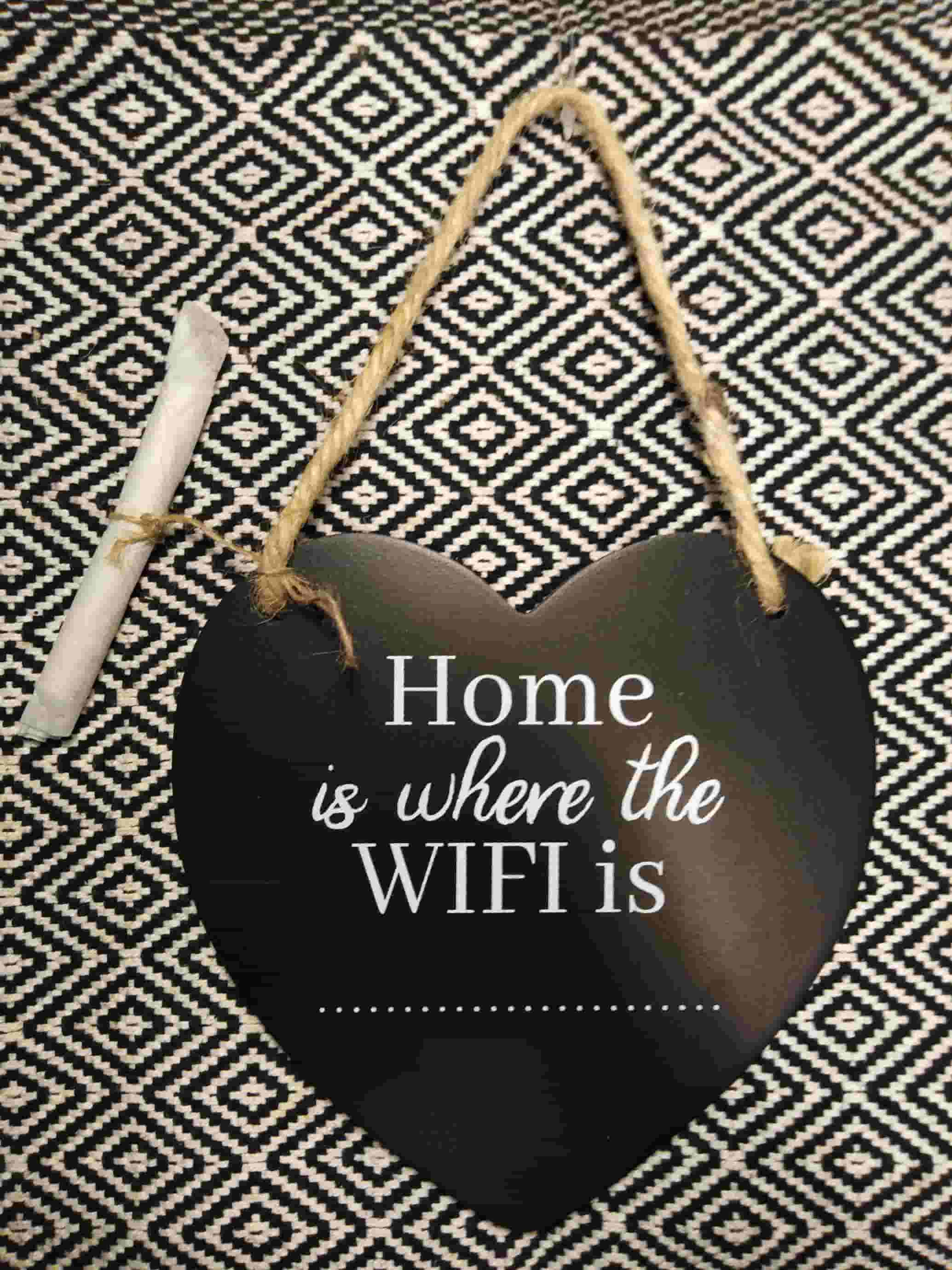 Heart Wifi Password Hanging Chalkboard Plaque
