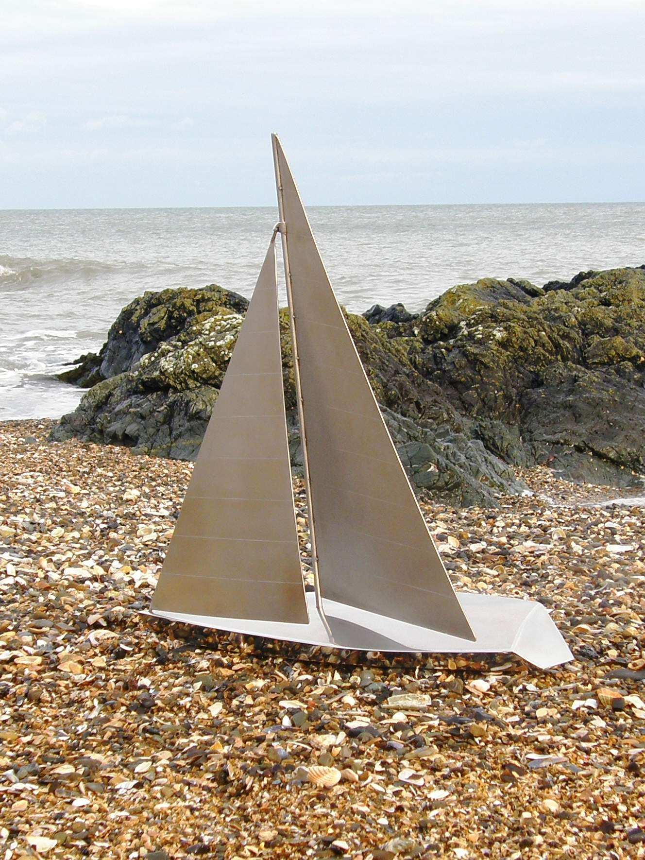 Yacht Model Handmade in Stainless Steel with adjustable sails - Height 670mm - LOA 600mm