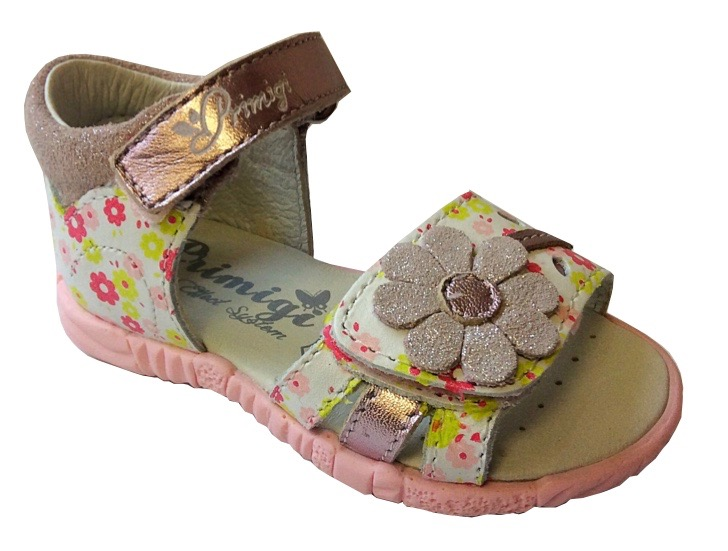 Baby girls open toe sandals with flower motif