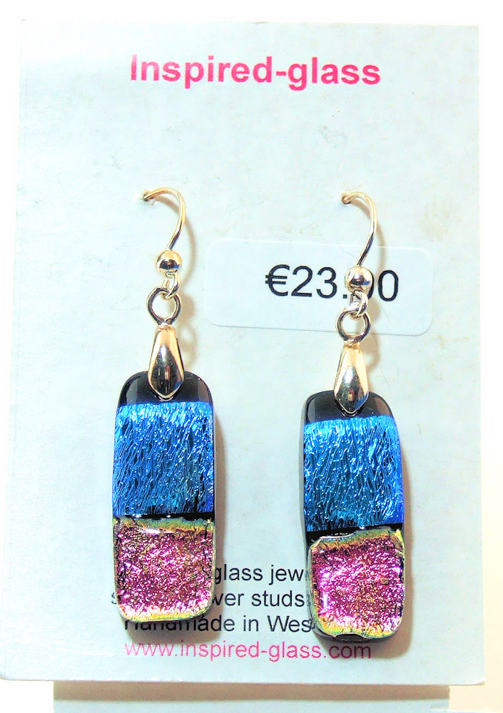 Fused-glass jewellery - drop earrings - 115