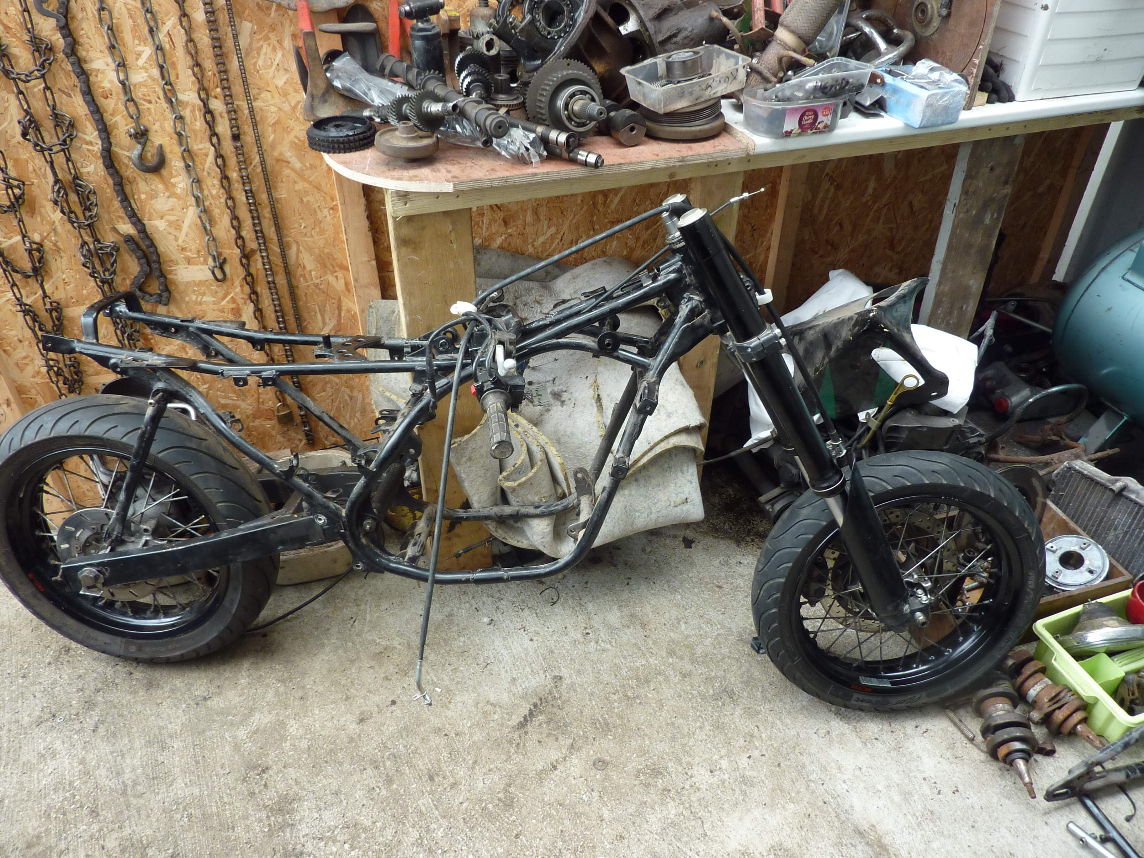 Frame modifications, CRF front end, WR rear end and wheels