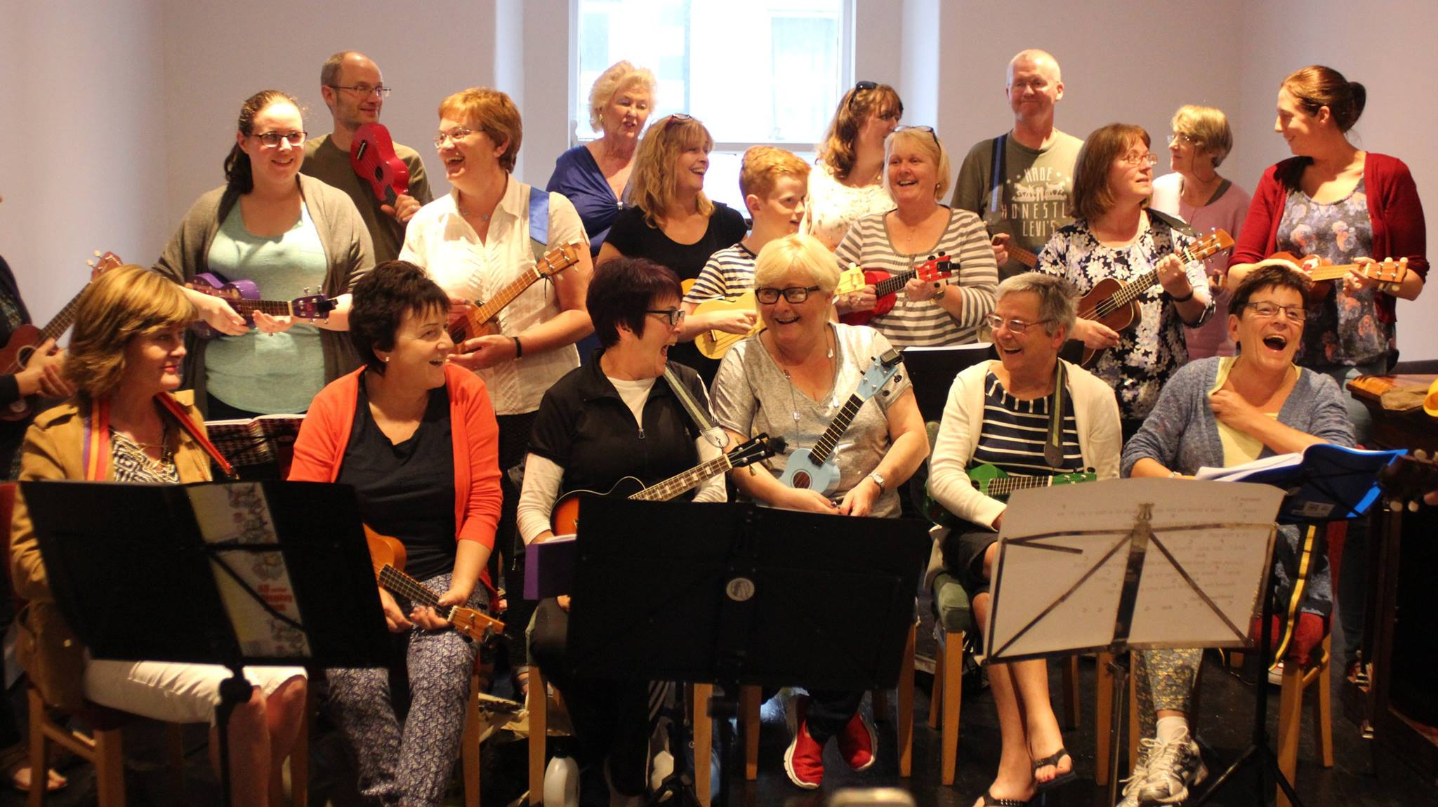Arklow Ukulele Players Learning Laughing Friendship Men Women Kids Family Friendly Relaxed Ronan McCauley