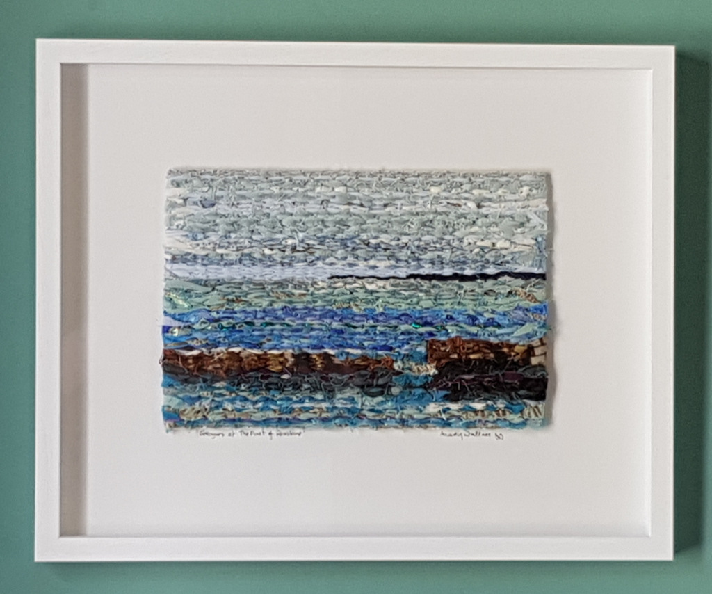 'Groynes at The Fort of Rosslare' a weaving in linen, silk, cotton. Textile art by Mary Wallace