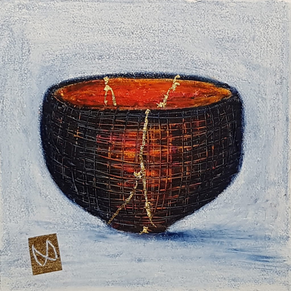 painting of Japanese kintsugi sake bowl with gold by Irish artist dark brown burnt orange