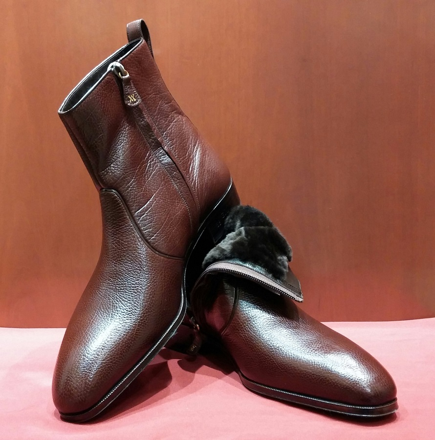 Boot Model 06P012 Brown Deer Skin with Fur Lining