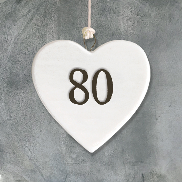 East Of India Age 80 Porcelain Hanging Heart