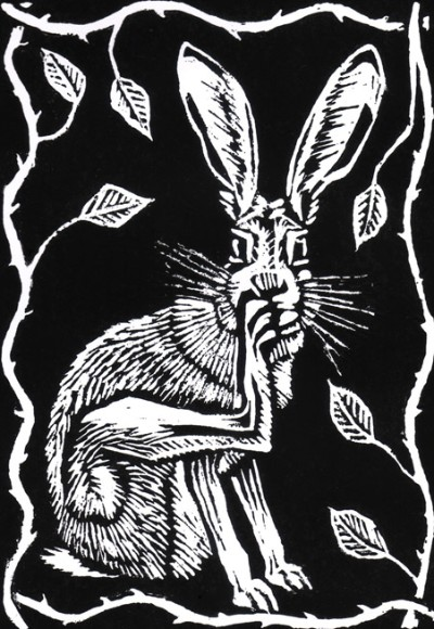 Scratching Hare lino