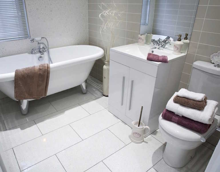 A Park home bathroom at Palace Road Residential Park, Ripon, North Yorkshire