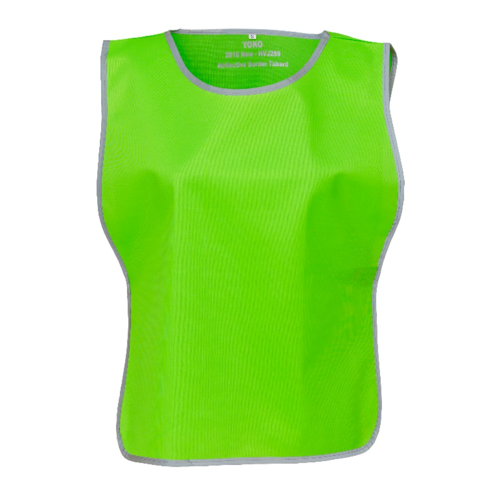 KHVJ259 Lime Green Polyester Tabard with Reflective Trim