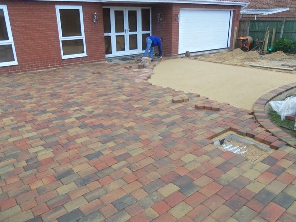 Block paved driveweay construction in Wraysbury